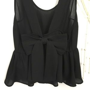 Urban Outfitters black bow back chiffon tank top